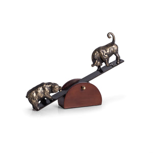 Bull and Bear See-Saw Sculpture - Wall Street Treasures