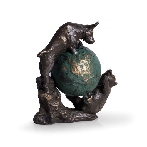 Wall Street Bull and Bear Globe Statue - Bronzed Sculpture - Wall Street Treasures