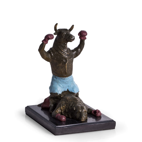 Wall Street Bull and Bear Boxing Statue - Bronzed Sculpture - Wall Street Treasures