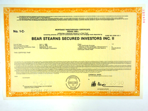 Bear Stearns Secured Investors Inc. II Specimen Certificate - 1990 - Wall Street Treasures