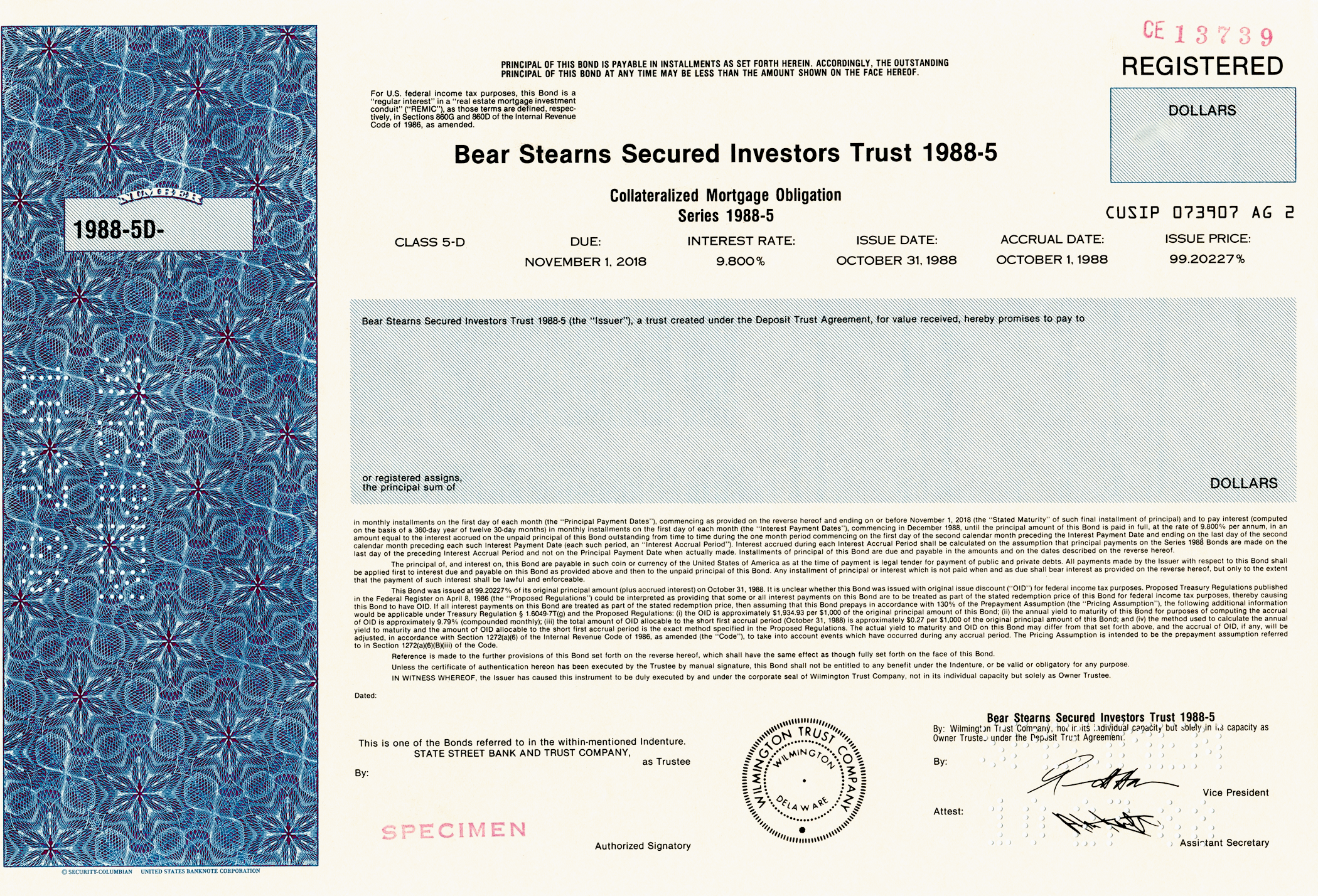 Bear Stearns Secured Investors Trust Specimen Certificate - 1988 - Wall Street Treasures