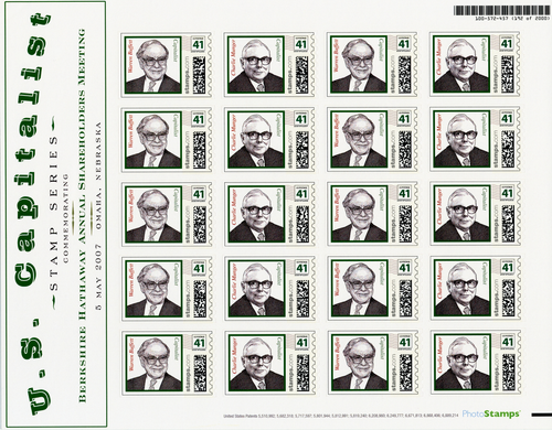 Berkshire Hathaway U.S. Capitalist Series Stamps with Placard - 2007 - Wall Street Treasures