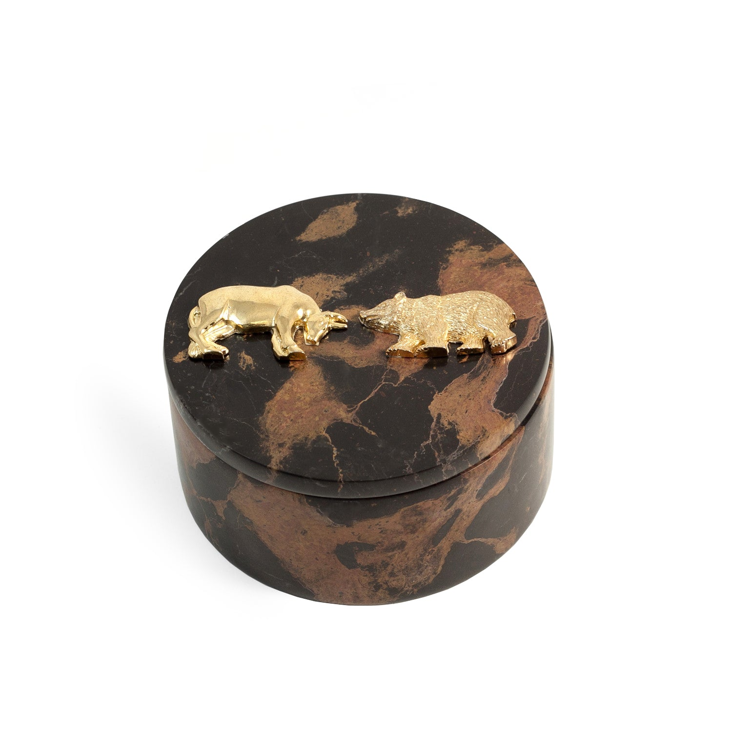 Wall Street Marble Round Accessory Box - Wall Street Treasures