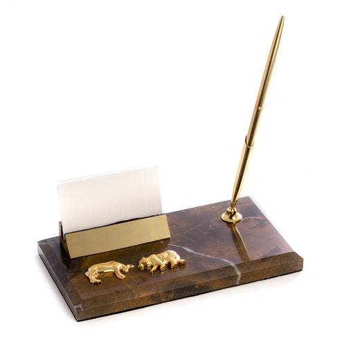 Wall Street Marble Business Card Holder with Pen - Wall Street Treasures