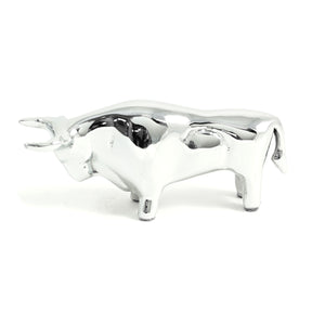 Wall Street Bull Paperweight - Chrome Plated Brass - Wall Street Treasures