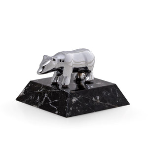 Wall Street Bear Paperweight - Chrome Plated Brass - Wall Street Treasures
