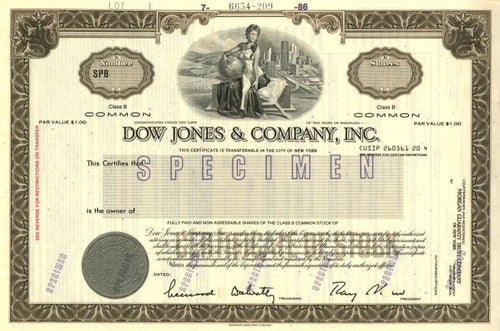 Dow Jones & Company, Inc. Specimen Stock Certificate - 1986 - Wall Street Treasures