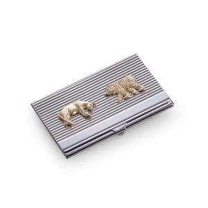Wall Street Bull and Bear Business Card Holder - Silver Plated - Wall Street Treasures