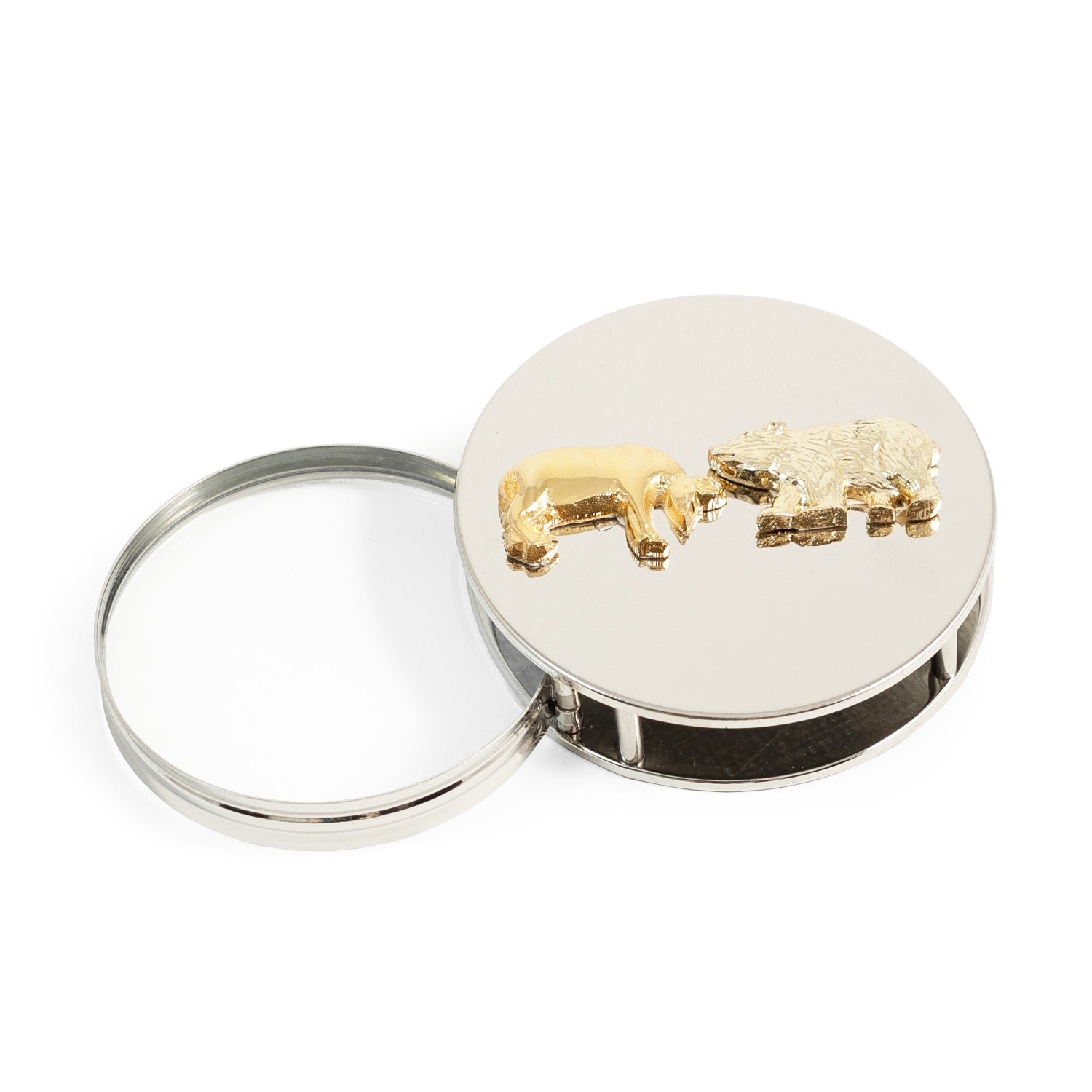 Wall Street Bull and Bear Paperweight/Magnifying Glass - Silver Plated - Wall Street Treasures
