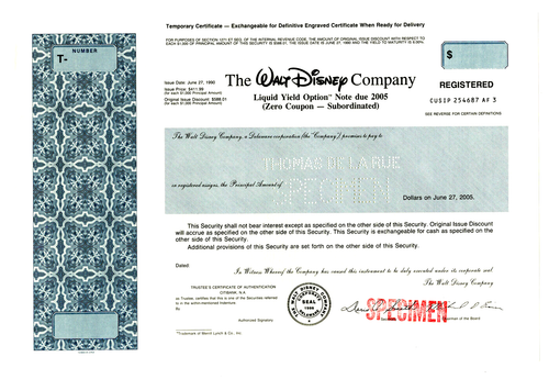 Walt Disney Company Registered Specimen Bond Certificate - 1990 - Wall Street Treasures