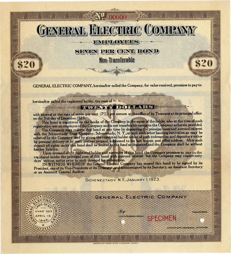 General Electric Company Employee Savings Bond - Specimen Certificate - 1923 - Wall Street Treasures