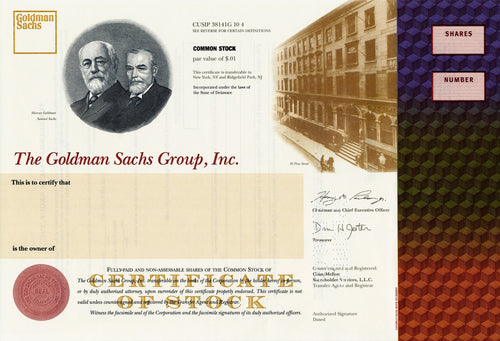 Goldman Sachs Group, Inc. IPO Specimen Stock Certificate - 2000s - Wall Street Treasures