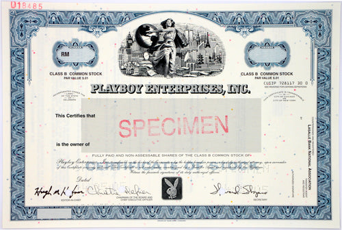 Playboy Enterprises, Inc. Specimen Stock Certificate - 2005 - Wall Street Treasures