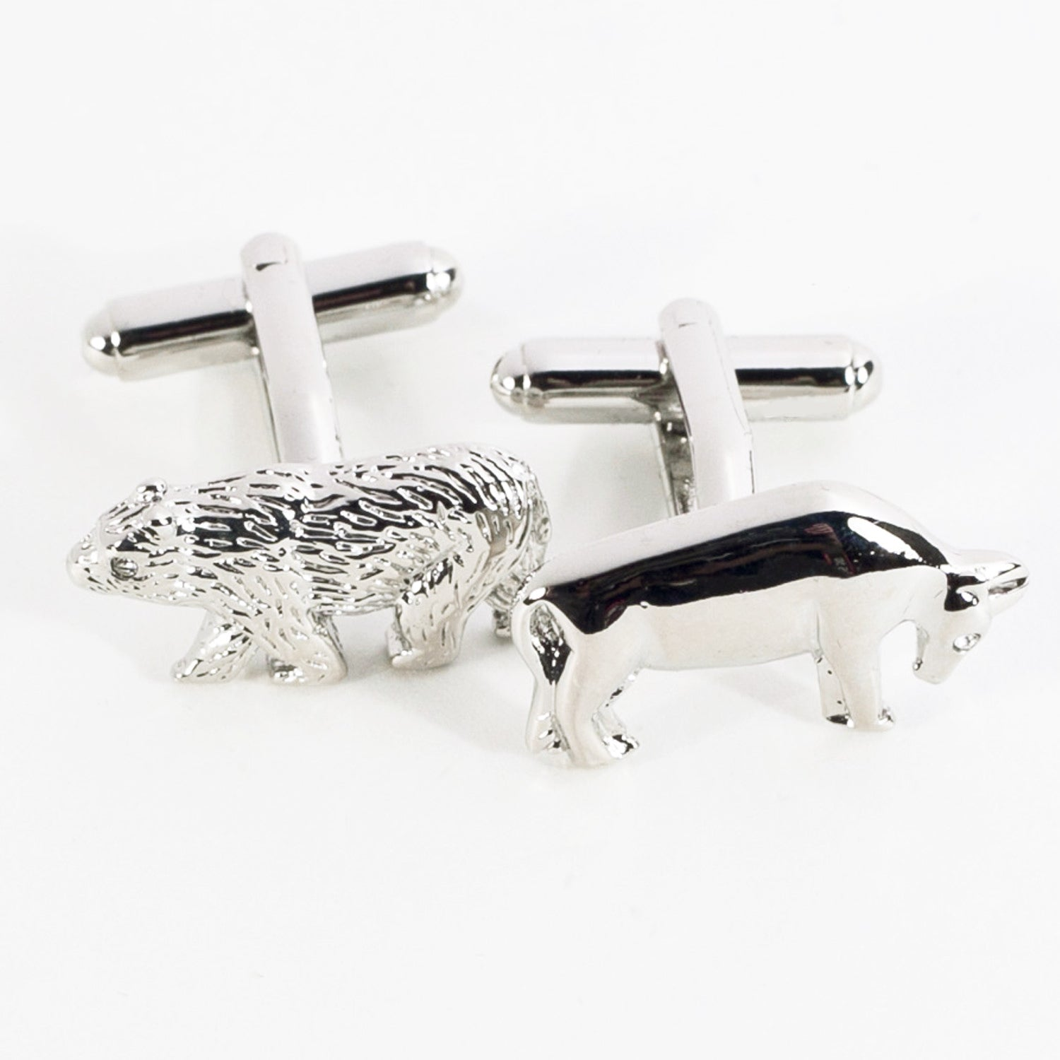 Wall Street Bull and Bear Cufflinks - Rhodium Plated - Wall Street Treasures