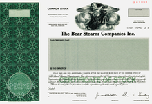 Load image into Gallery viewer, Bear Stearns Companies Inc. Specimen Stock Certificate - 1985