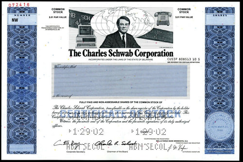 Charles Schwab Corporation Specimen Stock Certificate - 2002 - Wall Street Treasures