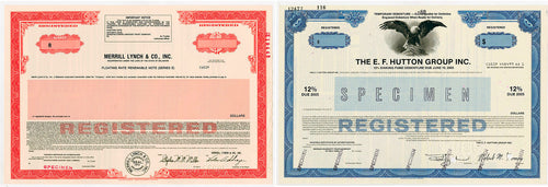 Merrill Lynch & Co. Inc., & E.F. Hutton Group Pair (2) Specimen Registered Bonds - 1980 - Wall Street Treasures