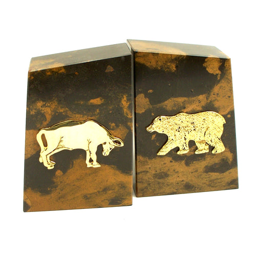 Bull and Bear Bookends - Solid Marble - Gold Plated - Wall Street Treasures