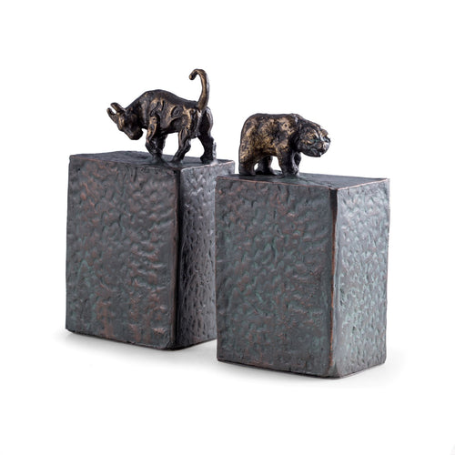 Bull and Bear Bookends - Metal with Patina Finish - Wall Street Treasures