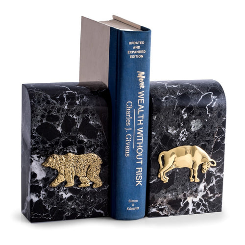 Bull and Bear Bookends - Black Marble - Wall Street Treasures