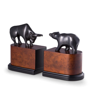 Bull and Bear Bookends -  Bronzed Brass on Burlwood - Wall Street Treasures