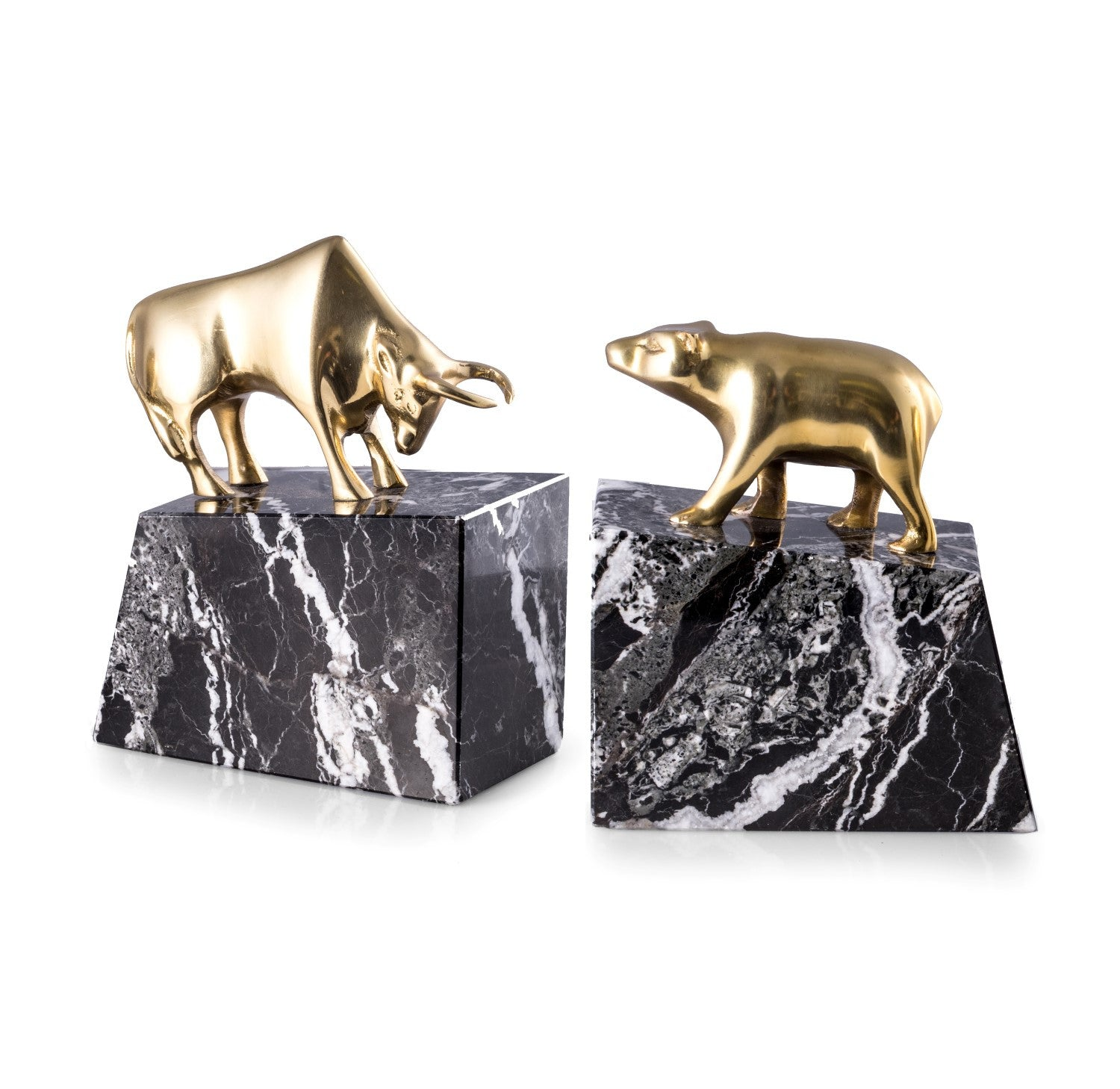 Bull and Bear Bookends - Brass on Black Marble - Wall Street Treasures