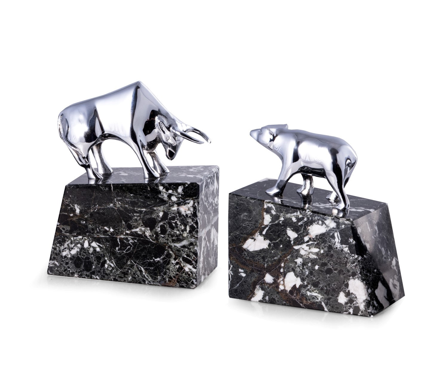 Bull and Bear Bookends - Chrome Plated on Black Marble - Wall Street Treasures