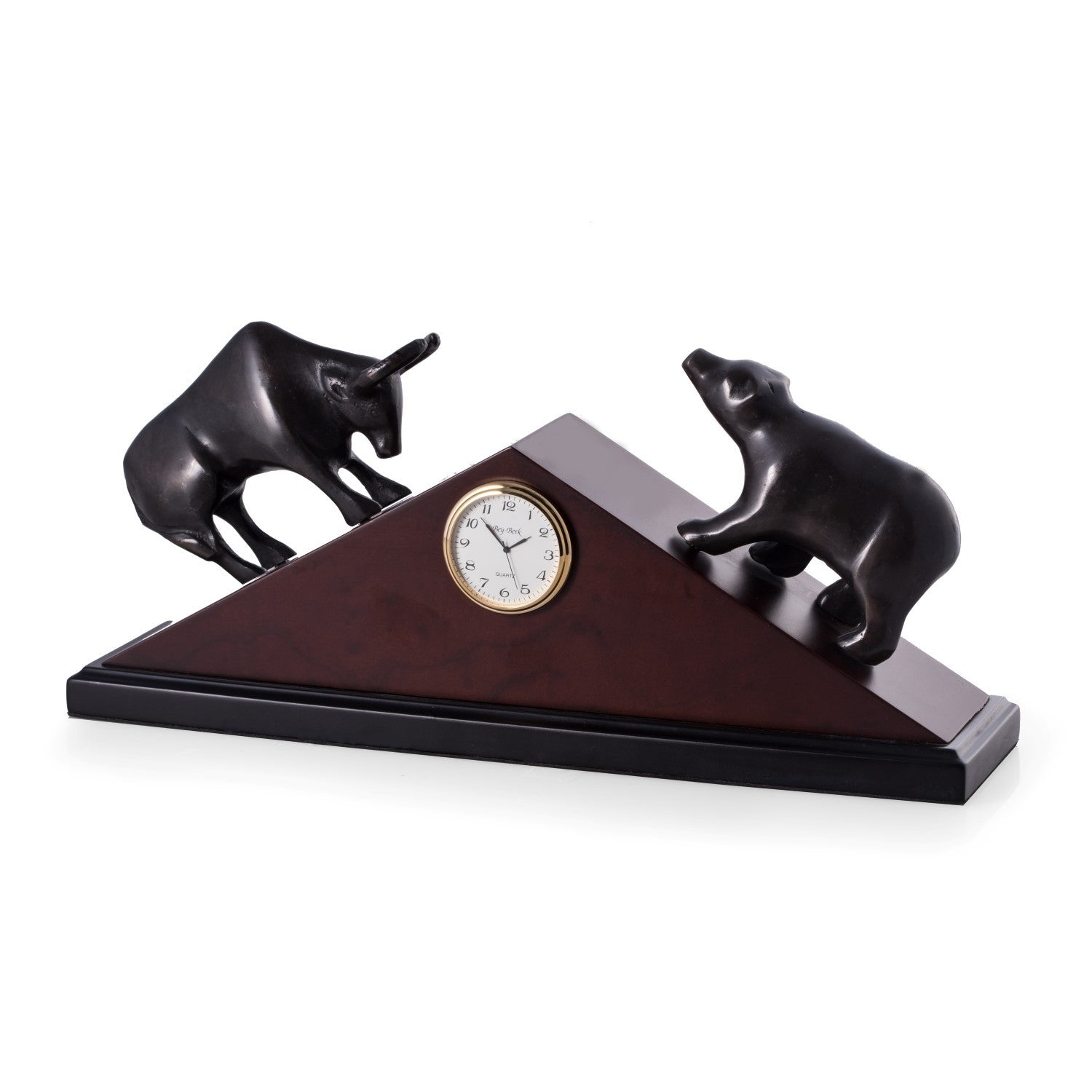 Wall Street Bull and Bear Brass Clock - Wall Street Treasures