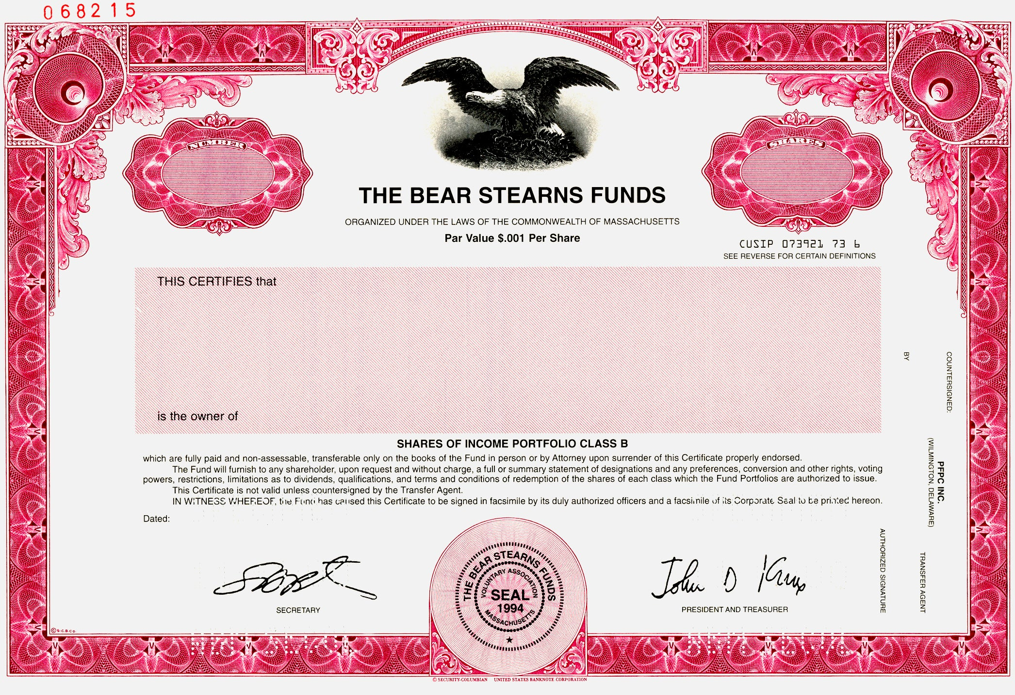 Bear Stearns Funds Specimen Stock Certificate - 2000 - Wall Street Treasures