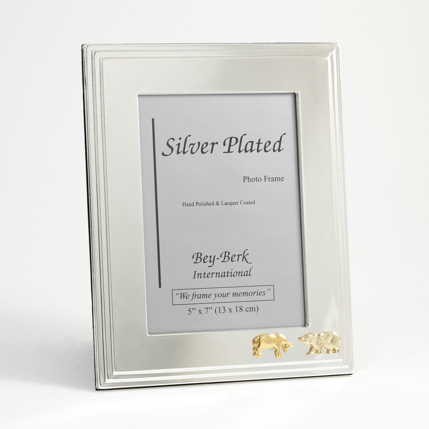 Wall Street Bull and Bear Photo Frame - Silver Plated - Wall Street Treasures