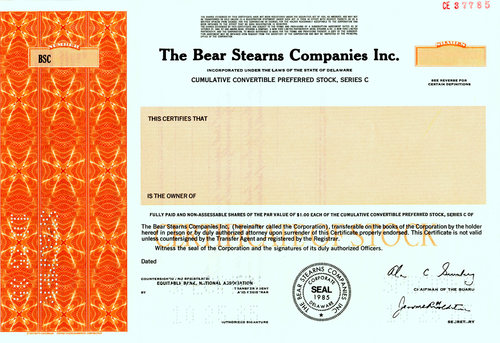 Bear Stearns Companies Inc. Specimen Stock Certificate - 1985 - Wall Street Treasures