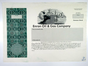 Enron Oil & Gas Company Specimen Proof Stock Certificate - 1980s - Wall Street Treasures