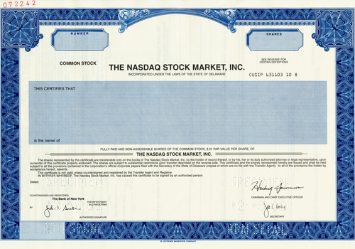 Nasdaq Stock Market, Inc. Specimen Stock Certificate - 2002 - Wall Street Treasures