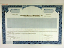 Load image into Gallery viewer, Nasdaq Stock Market, Inc. Specimen Stock Certificate - 2002 - Wall Street Treasures