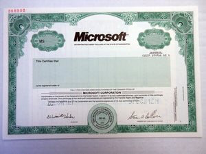 Microsoft Corporation Specimen Stock Certificate - 2000 - Wall Street Treasures