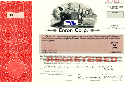 Enron Corp. Specimen Registered Bond Certificate - 1988 - Wall Street Treasures