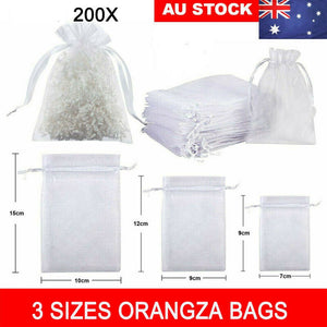 200X Organza Bag Sheer Bags Jewelry Wedding Candy Packaging Gift 3 Sizes