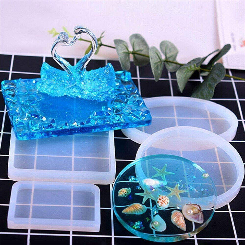 2PC Coaster Resin Cup Casting Mould Epoxy Mold Silicone DIY Jewelry Making Craft