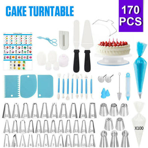 170Pcs Cake Decorating Kit Turntable Rotating Baking Icing Piping Nozzles