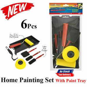 6x Point Paint Pad Painting Roller DIY Wall Decor Tool Paint Tray Brush Home