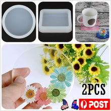 Load image into Gallery viewer, 2PC Coaster Resin Cup Casting Mould Epoxy Mold Silicone DIY Jewelry Making Craft