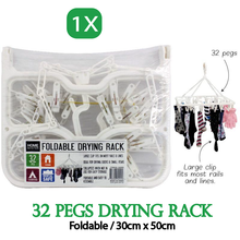 Load image into Gallery viewer, 32Pegs Foldable Plastic Clothes Hanger Sock Dryer Organizer Underwear Rack Airer