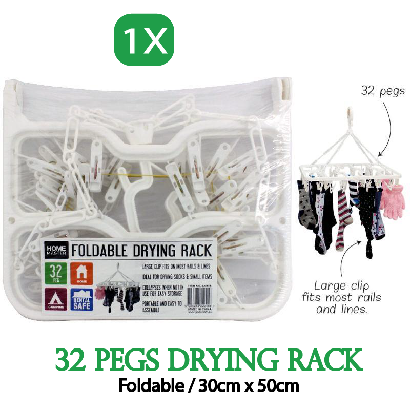 32Pegs Foldable Plastic Clothes Hanger Sock Dryer Organizer Underwear Rack Airer