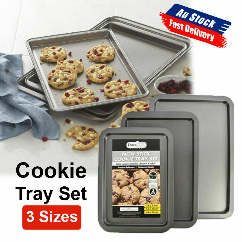 NEW 3 Sizes Non-stick Cookie Sheet Oven Baking Tray Biscuit Swiss Roll Pan