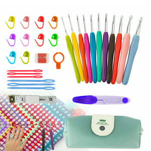 31pcs Crochet Hooks Kit Yarn Knitting Needles Sewing Tools Grip Set With Bag