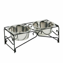 Load image into Gallery viewer, Dual Elevated Raised Pet Dog Feeder Bowl Stainless Steel Food 2x350ml WaterStand