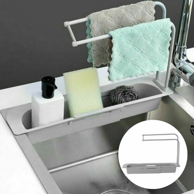 Telescopic Sink Rack Holder Expandable Grey