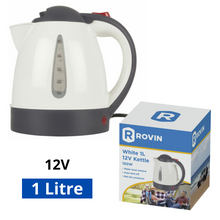 Load image into Gallery viewer, Rovin 1L 12V Attractive Kettle White With Auto-Shut Off & Boil Dry Protector