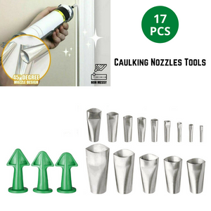 17PCS Caulking Tool Scraper Nozzles Spatulas Filler Spreader Sealant