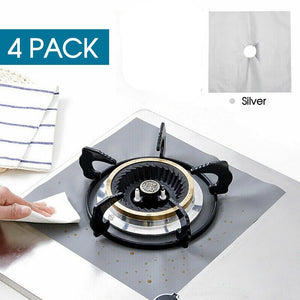 4pcs Kitchen Gas Stove Top Burner Reusable Protector Liner Cleaning Pad Cover SILVER
